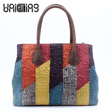 UniCalling women fashion bag patchwork multicolor panelled genuine leather women handbag hieroglyphic pattern women shoulder bag все цены