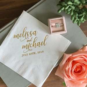 Персонализированные свадебные салфетки из розового золота, 25 шт., вечерние салфетки для обеда, обручения
