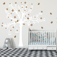 Tree with Blossom and Birds Wall Decal Tree Birds Wall Sticker For Kid's Room Nursery Tree Sticker 749T