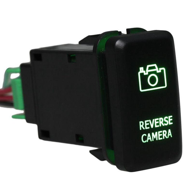 DC12-24V Black Push Switch Green Reverse Camera Pattern with Connector Wire For Toyota