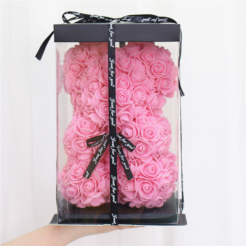"9.8"" LUXURY ROSE BEAR WITH GIFT BOX 25 cm"