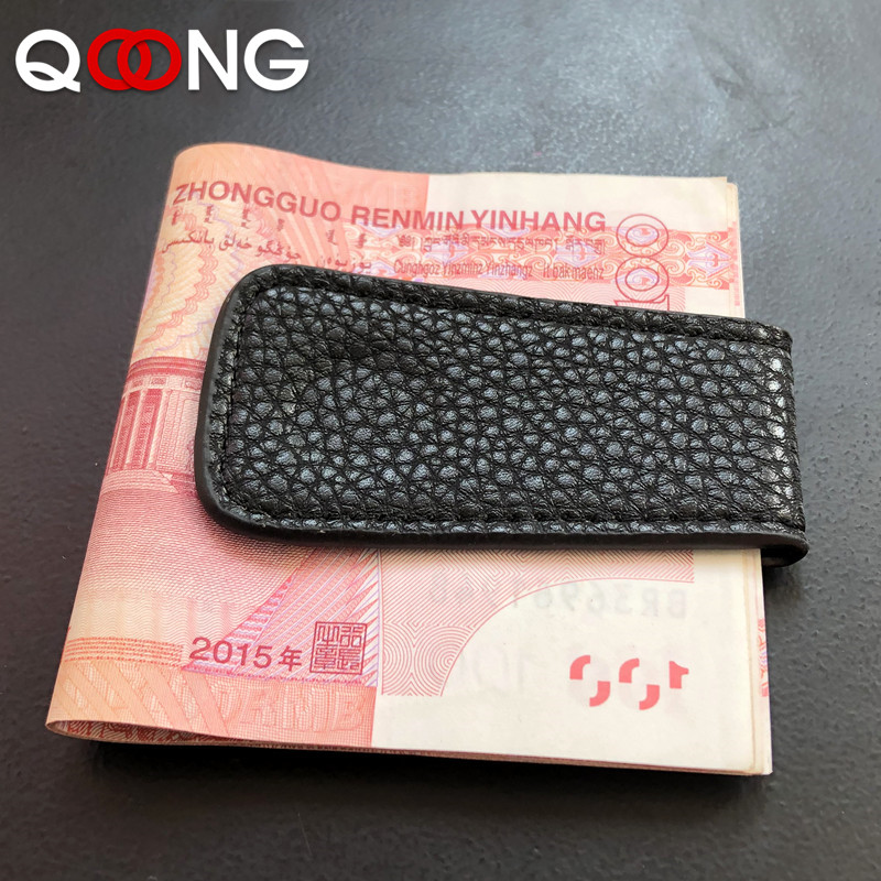 QOONG Fashion Mini Magnet Money Clip Cowhide Leather Wallet Retro Ultra-thin Magnetic Banknotes Credit Cards Check Clip ML1-002