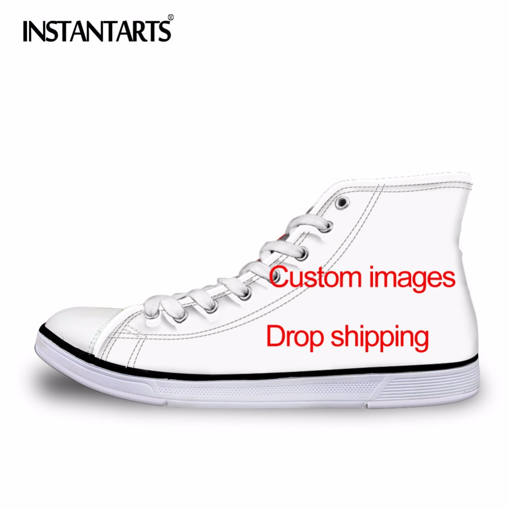 INSTANTARTS Mens Vulcanize Shoes Classic Superstar High Top Canvas Shoes Customized Images Drop Shipping Men Flat SneakersINSTANTARTS Mens Vulcanize Shoes Classic Superstar High Top Canvas Shoes Customized Images Drop Shipping Men Flat Sneakers