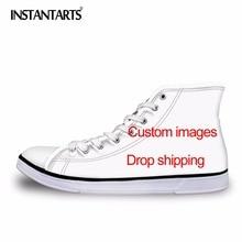 INSTANTARTS Men s Vulcanize Shoes Classic Superstar High Top Canvas Shoes  Customized Images Drop Shipping Men Flat 18d42835d