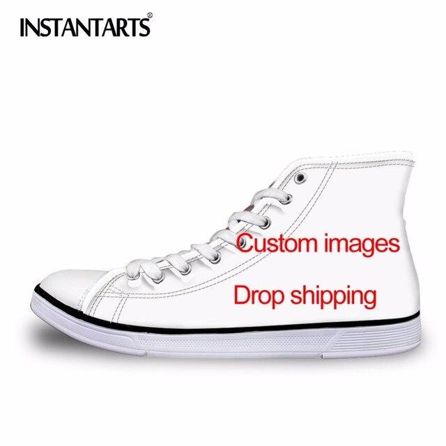 8c9aa145c INSTANTARTS Vulcanize Sapatos Clássico Superstar High Top Sapatas de Lona  dos homens Personalizado Imagens Drop Shipping