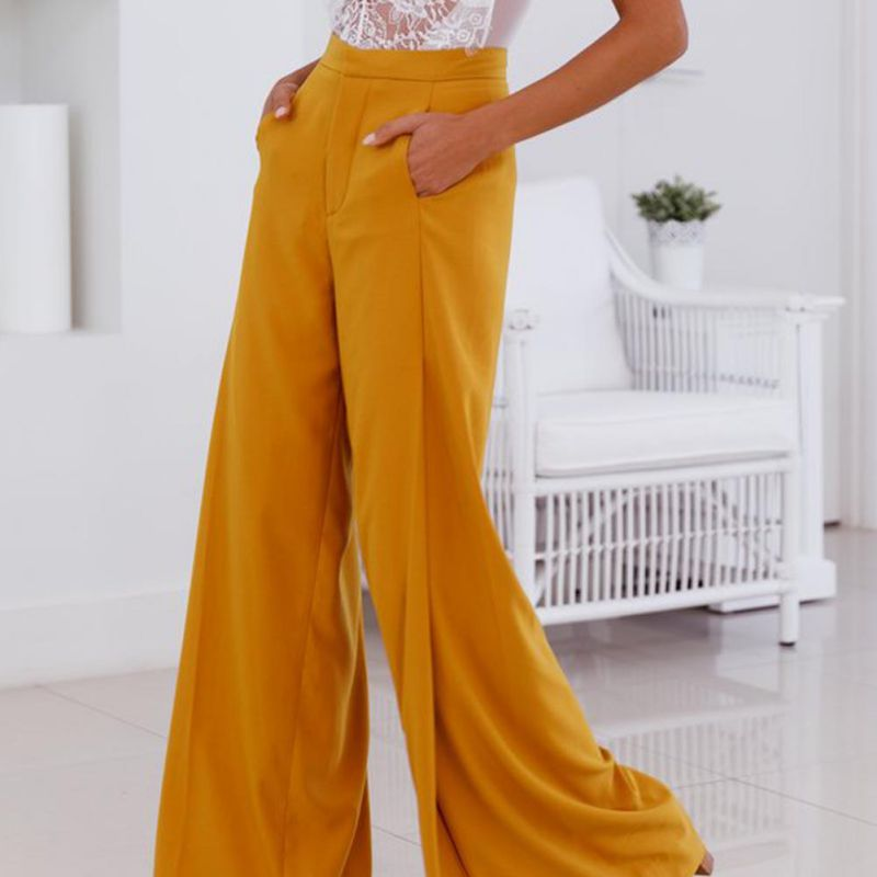 New Style High Street Style Solid Long Length High Waist Button Fly Flare   Pants   Women Loose Cozy   Wide     Leg     Pants
