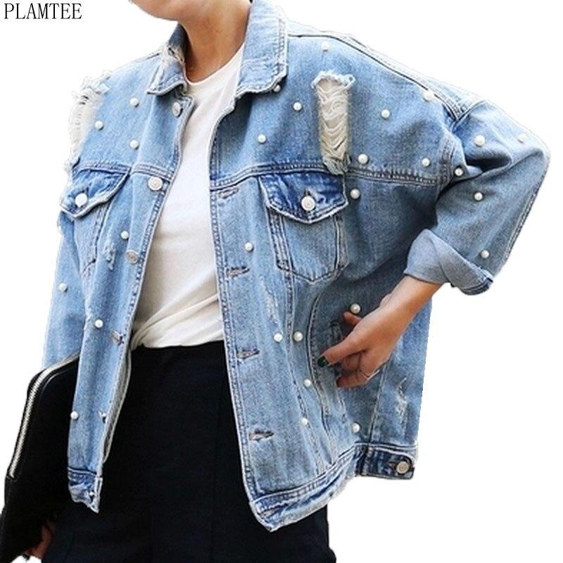 PLAMTEE Personality Pearls Jean Jacket Womens 2017 Street Vogue Frayed Loose Jaqueta Jeans Feminina Long Sleeve Chaquetas Mujer