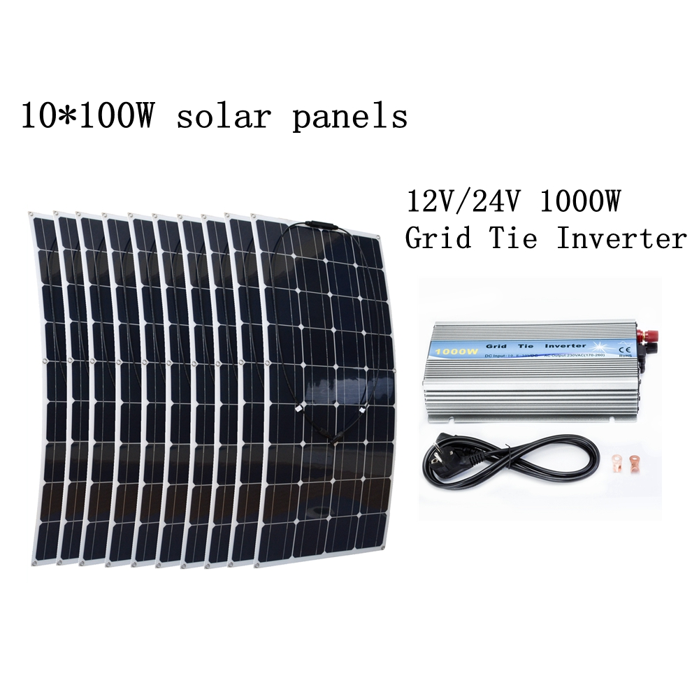 10*100W Flexible Solar Panels Solar Module with 1000W Grid Tie Pure Sine Wave Inverter 1000W Houseuse Grid Tie Solar System 1000w flexible solar panel 10x 100w solar module mono cell boat car house rv charger houseuse 1000w solar system