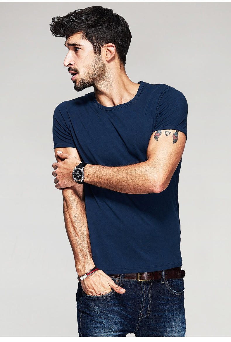 KUEGOU Summer Mens Casual T Shirts 10 Solid Colors Brand Clothing Man's Wear Short Sleeve Slim T-Shirts Tops Tees Plus Size 601 33