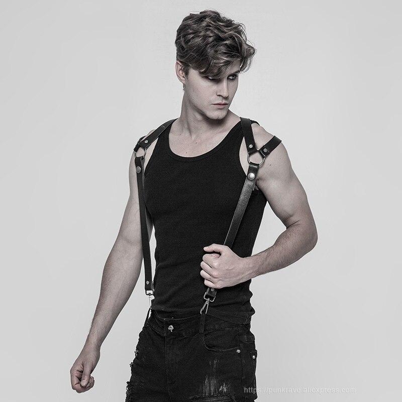 PUNK RAVE hommes Punk Rock pantalon bandoulière accessoires classique PU cuir métal crochets gothique fête Club noir hommes bretelles - 2