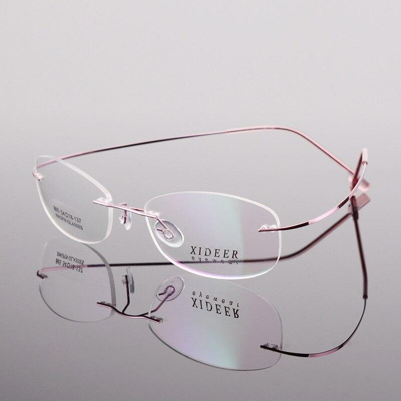 Sans monture hommes lunettes femmes Prescription lunettes myopie dioptrie 1.61 MR-8 1.67 indice lentille Anti bleu progressif rose
