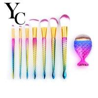 5 8pcs Mermaid Shaped Makeup Brush Set Big Fish Tail Foundation Powder Eyeshadow Makeup Brushes Contour