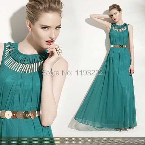 Vintage Women Lady Chiffon Sleeveless Lace Hollow Out Long Party Formal Cocktail Wedding Maxi Full Long Dress