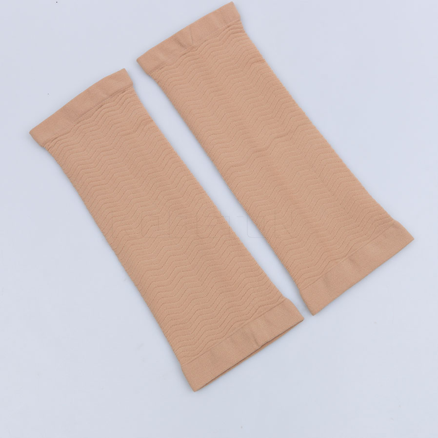 Magic Slimming Arm Shape Massage Sleeve Shaper Calorie Off Effective Lean Arm Weight Loss in Beige 1 Pair