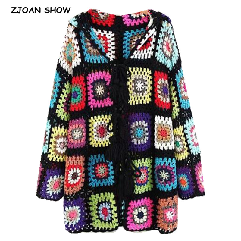 Bohomian Colored Plaid Hollow Out Hooded Cardigan Sweater 2018 Ethnic Retro Women Tassel Lacing Up Knitted