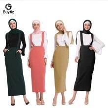 Buytiz High Waist Strap skirt Pencil Knee Plain Zipper Women Elegant Spring Midi Islamic Clothing UAE Abaya Dubai Kaftan Dress