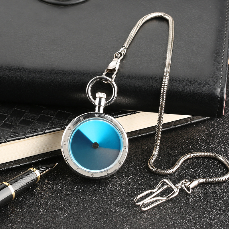 Silver Steel Swirl Turntable Pocket Watch Unisex Vintage Aurora Dial Quartz Watches Creative Snake Fob Chain Mini Gift Clock