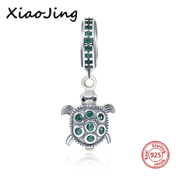 New Arrival silver 925 Original Turtle with Green CZ Charms Bead Fit Authentic Pandora Bracelets Pendants Jewelry making Gift