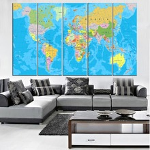 5 Panel Canvas Art Modern Classic Political World Map Home Decor Perfect Print HD Picture Modular Decoration Bedroom Unframed