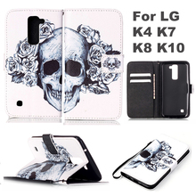 For LG K8 Phone Cases Skull Painted Book Style Wallet PU Leather Case For LG K4 K7 K8 K10 Skin Cover With Card Slots Holder protective genuine leather case w card holder slots for lg nexus 5 white