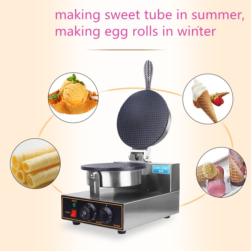 2017 single head ice cream cone baker machine, dryer crispy ice cream cone non-stick plate ice cream egg roll skin waffle maker chinese single round pan rolled ice cream machine fried ice cream roll machine with 6 barrels