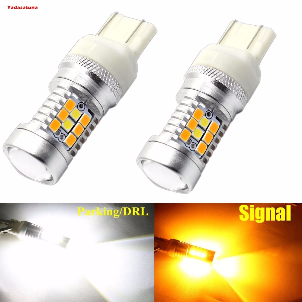 Dual Color White/Amber 7443 28smd Switchback DRL LED Bulbs For Turn Signal Lights (pack of 2 ) Canbus action свеча цифра для торта 4 года цвет розовый