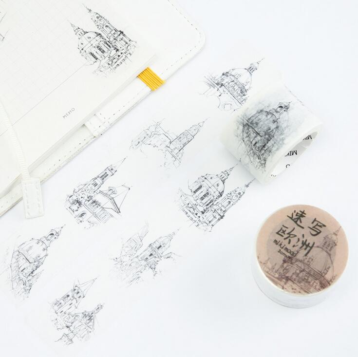 3 CM Wide Drawing Europen Building Washi Tape Adhesive Tape DIY Scrapbooking Sticker Label Masking Tape 10pcs lot 3cm wide vintage world famous painting washi tape adhesive tape diy scrapbooking sticker label masking tape
