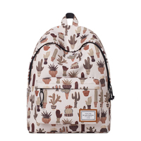 Cactus Potted Plants Printing College School Computer Backpack Retro Good Quality Schoolbag For Teenage Girl Boy