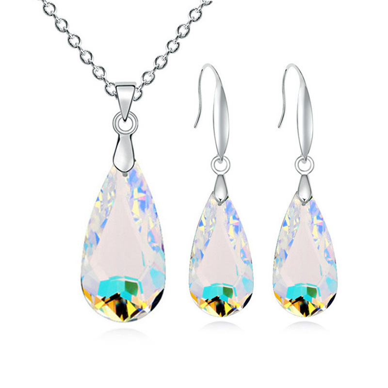 Jewellery-Set Falling-Drops Plastic Silver-Color Water Africa Womens Fashion Glass of