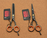 2Pcs 5 5 16cm Japan Kasho Best 440C Black Professional Human Hair Scissors Hairdressing Cutting Shears
