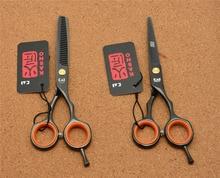 "5.5"" 16cm Japan Kasho Toppest 440C Black Professional Human Hair Scissors Hairdressing Cutting Shears Thinning Scissors H1004"