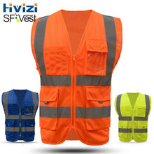Hivizi Brand Reflective Safety Security Mesh Vest Waistcoat for O Construction Traffic Mining Prospecting Rescue(China)