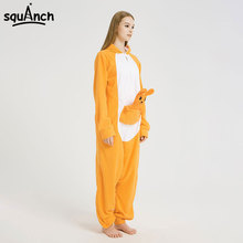 5d49a55bd60e Kangaroo Kigurumi Onesie Animal Cartoon Pajama Funny Cute Party Outfit  Women Men Adult Winter Sleepwear Carnival