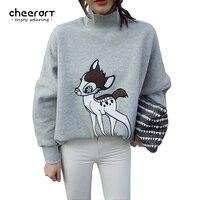 Cheerart Deer Animal Print Sweatshirt Women Turtleneck Grey Loose Cartoon Pullover Fleece Tracksuit Korean Hoodie