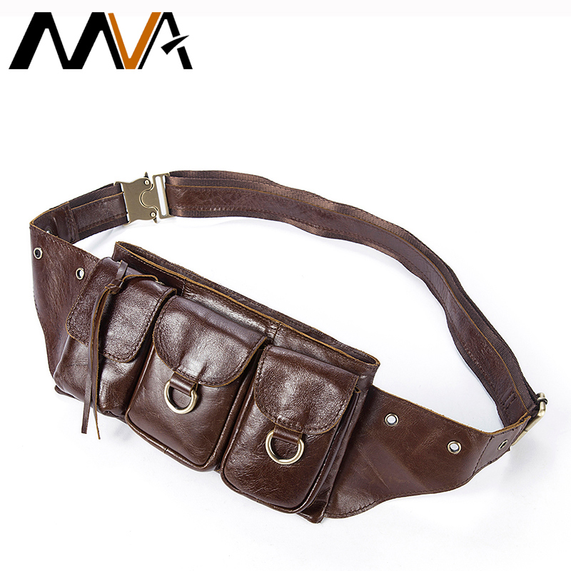MVA Men Waist Bag Phone Case Cover Travel Money Belt Bag Genuine Leather Men Bags Leather Waist Pack Fanny Pack Waists Pouch
