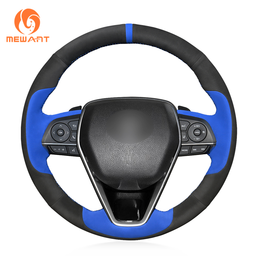MEWANT Blue Black Suede Hand Sew Car Steering Wheel Cover for Toyota Camry 2018 2019 Avalon