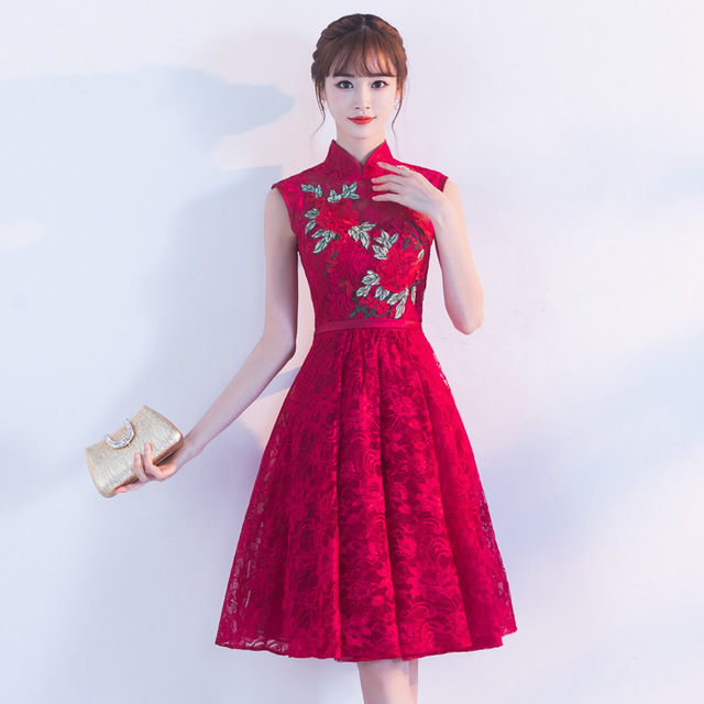 Traditional Chinese Dress Qipao Red Wine Party Dresses Bride 2017 ...