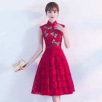 Traditional Chinese Dress Qipao Red Wine Party Dresses Bride 2017 Fashion Plus Size Cheongsam Embroidery Oriental Wedding Gowns