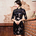 TIC-TEC woman autumn velvet qipao three quarter sleeve Chinese traditional black  sexy short qipao Chauncey print P2478