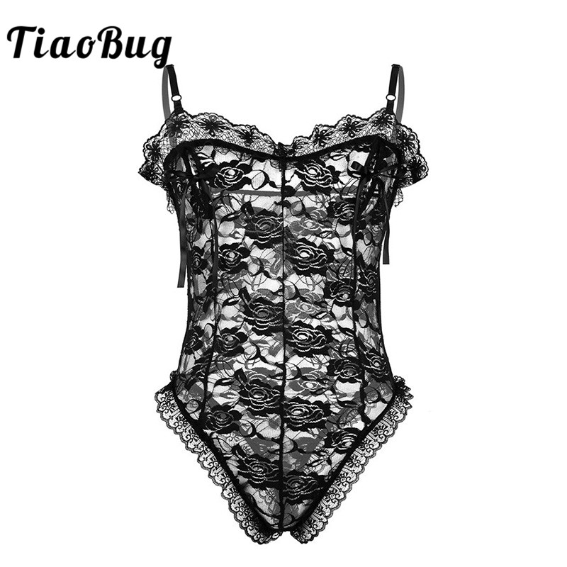 TiaoBug Men Black Lace Floral Nipple Splits With Ribbon Hot Sexy Sissy Lingerie Thong Male Transparent Bodysuit Erotic Nightwear