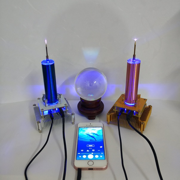 Tesla Coil Put Music Ion Windmill Wreath Spaced Lights Wireless Transmission Radio Station