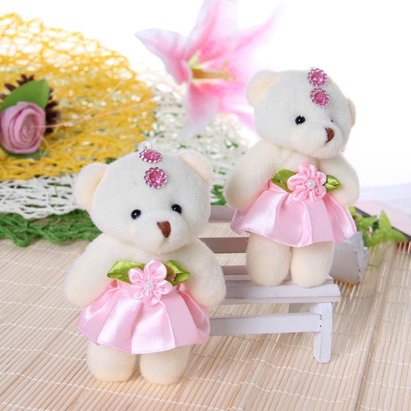 20pcs/lot 12cm pink optional cute mini teddy bear small bear plush ...