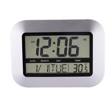 Snooze Digital Wall Clock 12/24 hours Thermometer Silver 260x230x35mm Display Calendar With Temperature Indoor