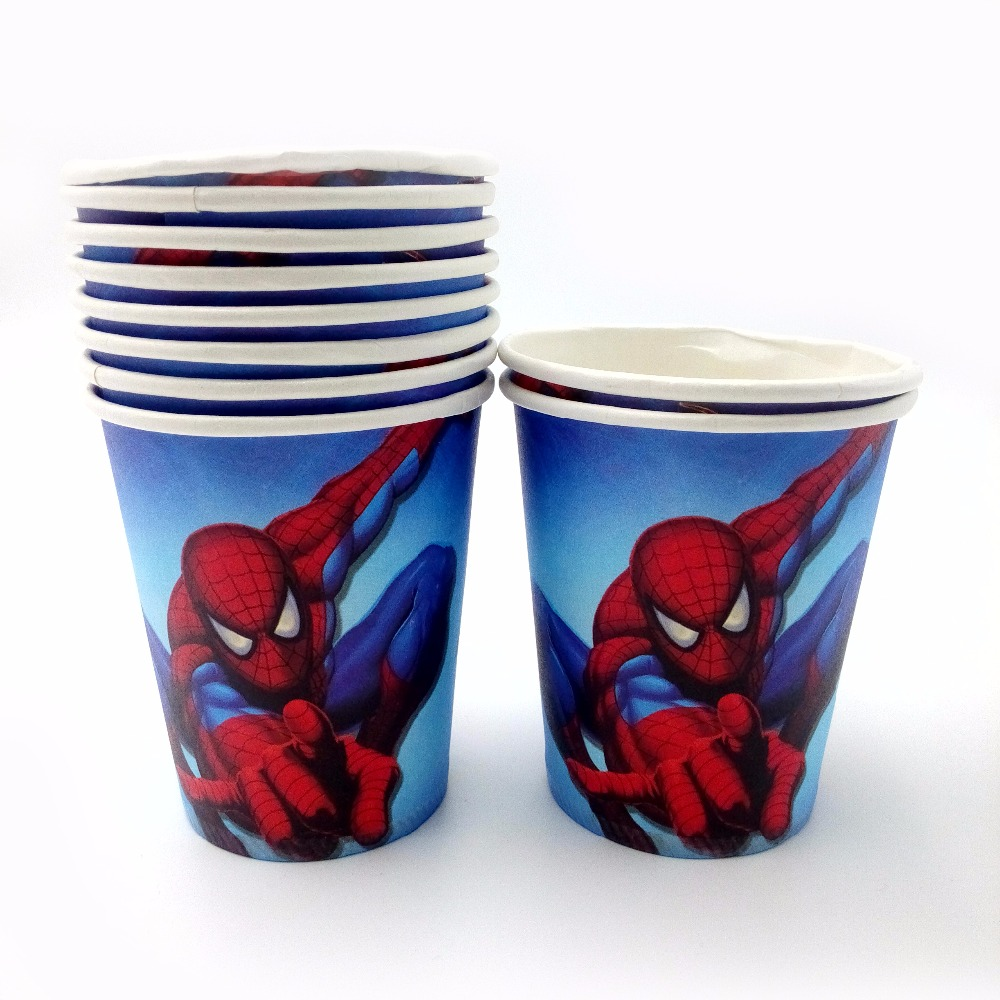 10pcs lot Spiderman Cup Cartoon Superhero Birthday Decoration Theme Party Supply Festival For Kids in Disposable Party Tableware from Home Garden