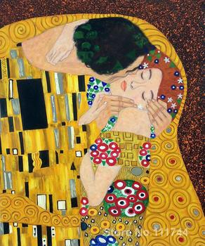 Portrait of women The Kiss Details Gustav Klimt oil reproduction High quality Hand painted