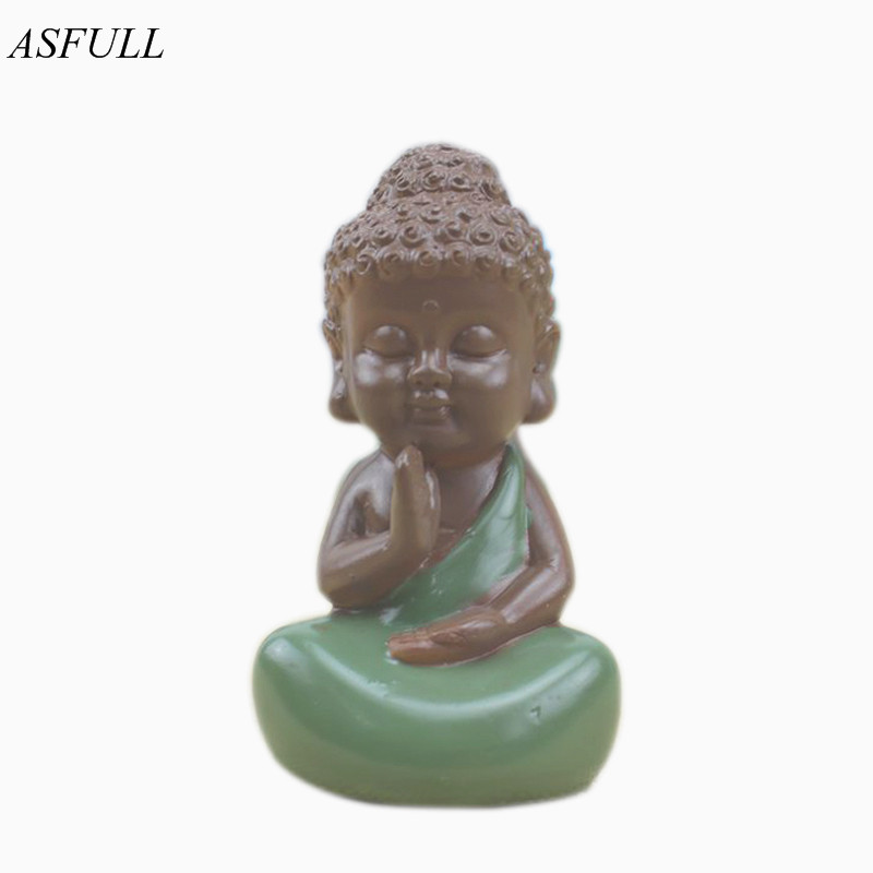 ASFULL Small Buddha Statue Monk Figurine India Mandala resin Crafts Home Decorative Ornaments Miniatures buda decor free shippin