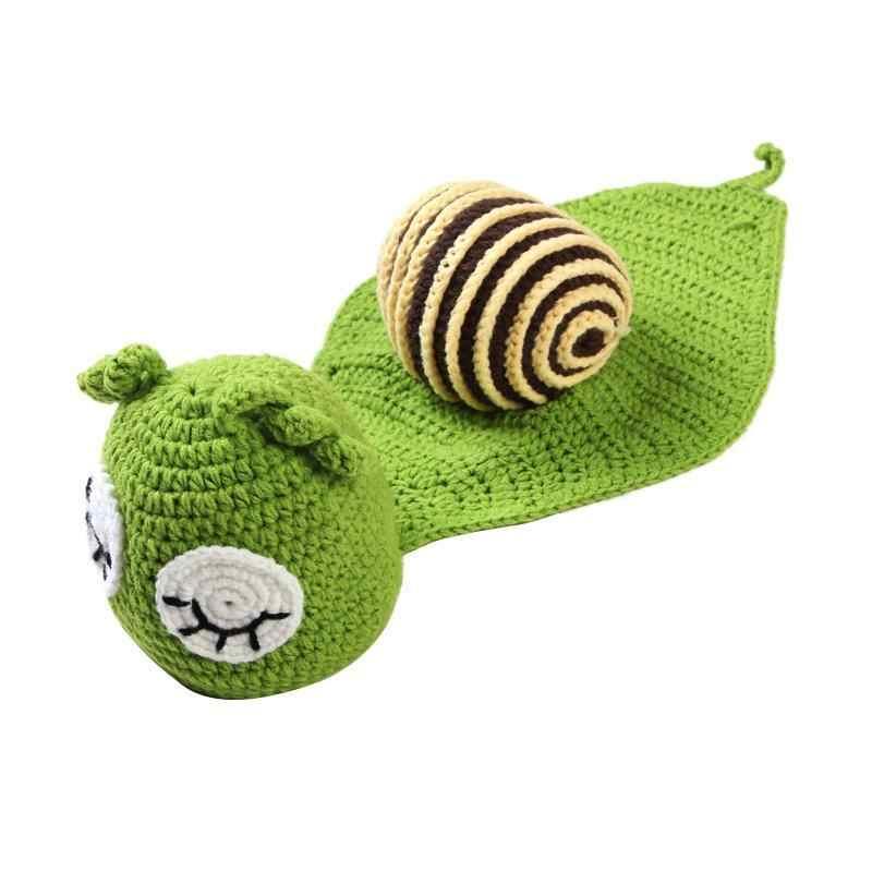 かわいいベビーカタツムリ写真の小道具新生児ガールズボーイズ誕生日パーティーニット衣装ウール写真プロップ衣装衣装