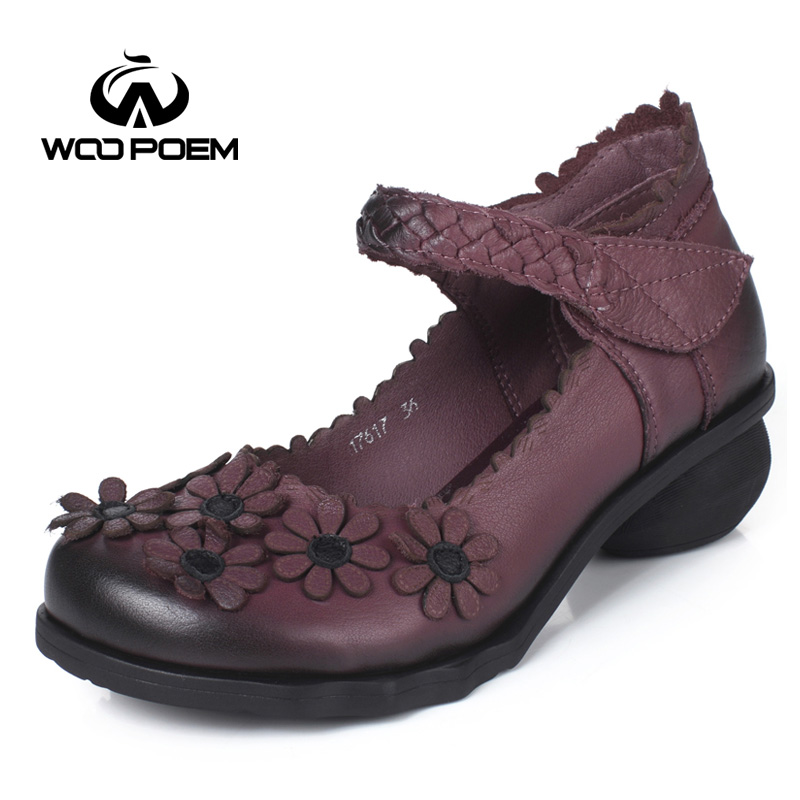 WooPoem 2017 Spring Shoes Woman Genuine Leather Shoes Leather Flower Mary Janes Pumps Med Heels Women Patent Leather Pumps 17617 lovexss woman wedding mary janes black red genuine leather woman high heel shoes party patent leather pumps mary janes 2017