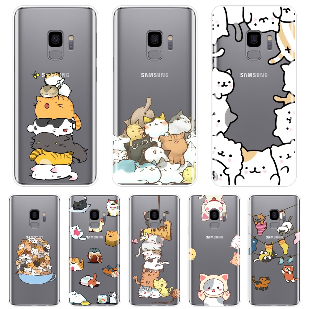 For Samsung Galaxy S8 S9 Plus S5 S6 S7 Edge Case Silicone Kawaii Cat Japan Soft Back Cover For Samsung Note 9 8 5 4 Phone Case