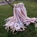 Новинка, 50 шт./лот, розовые джутовые кружевные свадебные палочки с большими серебряными колокольчиками для свадебной вечеринки